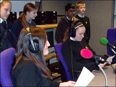 Students from Hope High School, The Swinton High School and Salford Academy in the studio at Radio Manchester