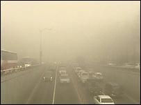 Dust cloud over Busan, South Korea - 3 March 2008