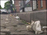 Litter in a street