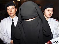 A Muslim woman shortly before she was excluded from court in Austria