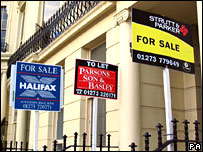 For sale signs outside houses. Image: PA