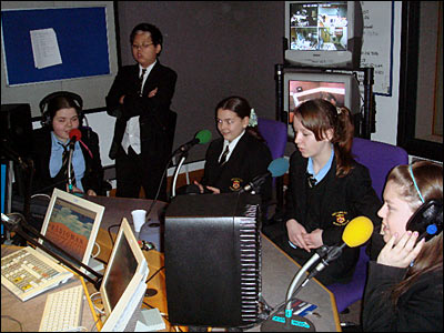 School Reporters from Our Lady's High School in Manchester learn how radio interviews are conducted