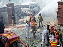 Scene of a blast at naval college in Lahore, Pakistan