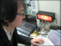 Radio producer in studio