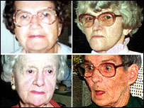 Colin Norris' victims [clockwise from top left] Ethel Hall, Doris Ludlam, Irene Crookes, Bridget Bourke
