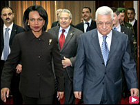 كوندوليزا رايس مع محمود عباس في رام الله