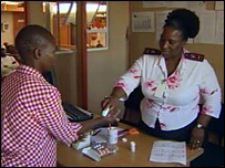 A patient with TB is given her medicine