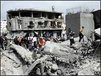 Destroyed building in Rafah, Gaza (2 March 2008)