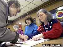 A poll worker signing in a voter in Bowling Green, Ohio, 4 March 2008