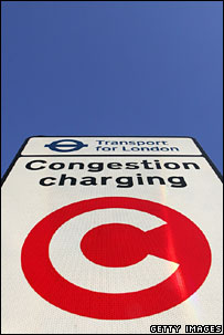 London congestion charge sign. Image: Getty