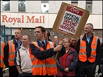 Striking postal workers in York in 2007