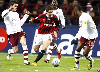 Pato runs at Arsenal's defence