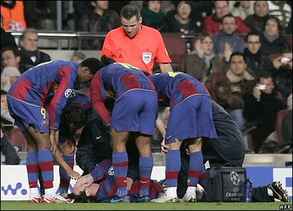 Messi goes down injured