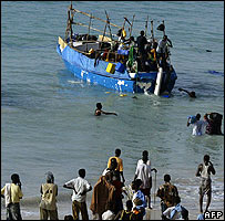A boat ferrying illegal immigrants to Yemen from Puntland state in Somalia, September 2007