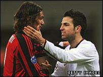 AC Milan's Paolo Maldini and Cesc Fabregas of Arsenal
