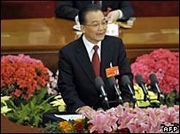Chinese Premier Wen Jiabao speaks at the opening session of the National People's Congress (NPC) at Beijing's Great Hall of the People, 5 March, 2008