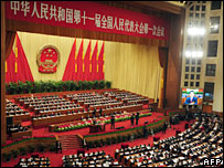 The opening session of the Great Hall of the People in Beijing on 5 March, 2008