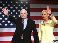 John McCain and wife Cindy in Dallas, Texas