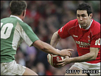 Welsh fly-half Stephen Jones takes on Ireland's Ronan O'Gara in last year's clash