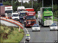 Lorries in Gateshead road during fuel protest