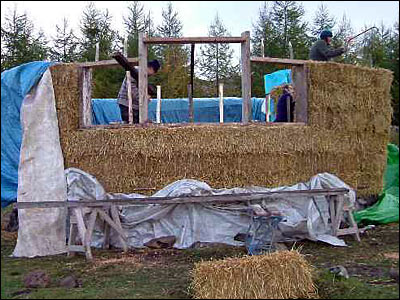 straw walls with window frames