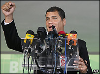 Rafael Correa in Brasilia - 5 March 2008