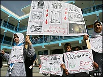 Gaza girls protest at Israeli measures