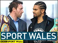 Enzo Maccarinelli (left) and David Haye square up