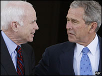 John McCain and George W Bush at the White House, 5 March 2008