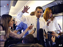 Barack Obama speaks to the press on his plane from Texas, 5 March 2008