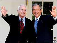 President Bush and John McCain at the White House