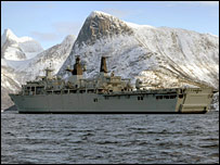 HMS Albion taking part in the training exercise off the coast of Norway. Picture: Royal Navy