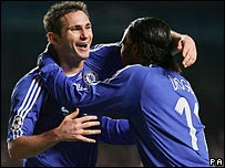 Chelsea's Frank Lampard celebrates his goal with Didier Drogba