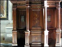 A confessional box in St Peters, Rome, 23 August, 2007