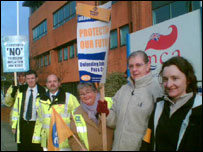 Picket line of striking MCA staff