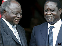 President Mwai Kibaki (L) and Raila Odinga