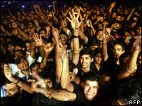 The audience at a concert by rock group Iron Maiden in India