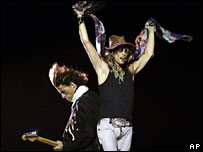 Rock band Aerosmith performing in Bangalore, India