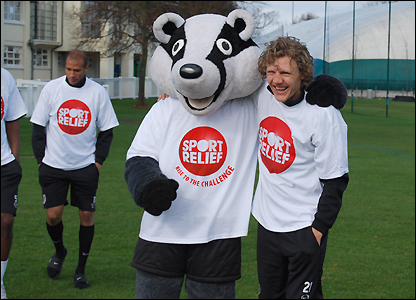 Billy the Badger and Jimmy Bullard team up for Sport Relief
