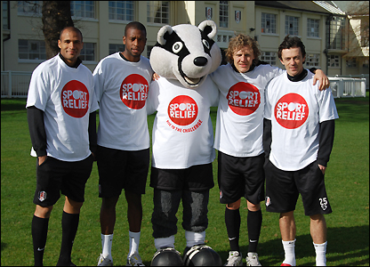 Fulham stars team up with Billy the Badger at the club's training ground to pledge their support for Sport Relief