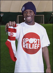 Chelsea and England star Shaun Wright-Phillips shows off his Sport Relief Sock