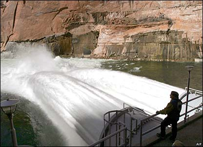 Water flows from the number one and two jet tubes at the Glen Canyon Dam, 5 March 2008