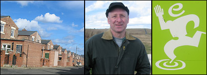 Easington Colliery village, Tommy Butler, and the logo of Easington Council