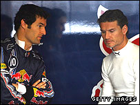 Red Bull F1 team-mates Mark Webber and David Coulthard
