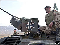 Iron Cross symbol on German vehicle in Afghanistan
