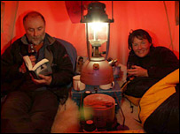 Robert and Sam in tent. Image: BBC