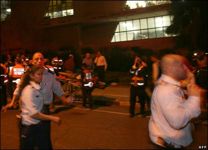 Emergency services rush to scene of attack at Mercaz Harav seminary.