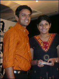 Rahul Dravid with a fan at the BBC event