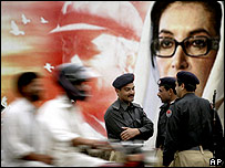 Poster of slain PPP leader Benazir Bhutto in Rawalpindi