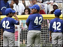 Children wear number 42 shirts in tribute to legendary baseball star Jackie Robinson